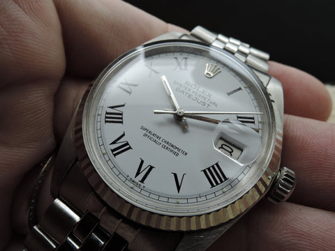 1967 Rolex DATEJUST 1601 SS White Roman Dial with Jubilee Band