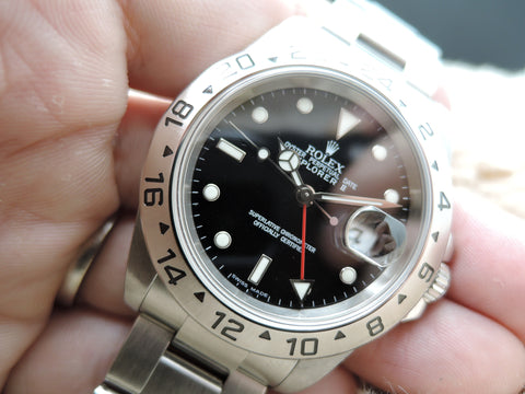 2004 Rolex EXPLORER 2 16570 Black Dial (No Hole Case) FULL SET