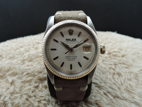 "1958 Rolex DATEJUST 6605 2-Tone SS/Rose Gold signed ""Serpico Y Laino"""