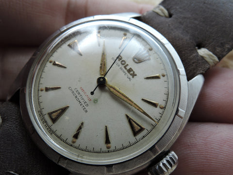 "1951 Rolex SEMI BUBBLEBACK 6085 with Red ""OFFICIALLY"""