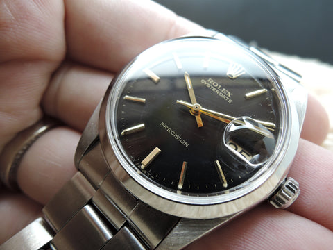 1967 Rolex OYSTER DATE 6694 Original Black Dial with Gold Markers