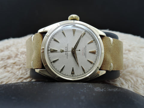 "1953 Rolex OYSTER PERPETUAL 6085 14K YG with Honeycomb Red ""OFFICIALLY"" Dial"
