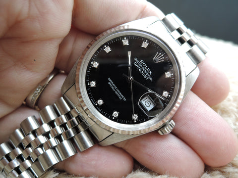 1984 Rolex DATEJUST 16014 Stainless Steel Black Diamond Dial