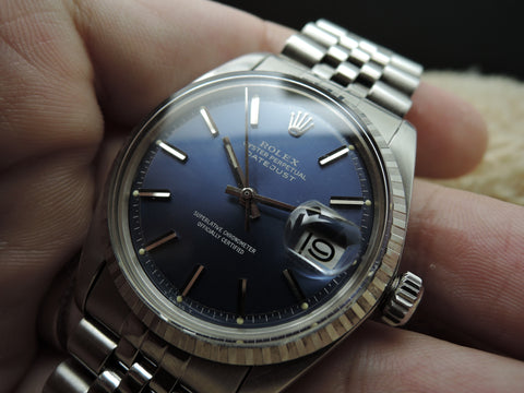 1972 Rolex DATEJUST 1603 SS ORIGINAL Blue Dial with Solid Jubilee