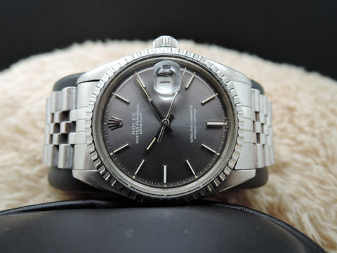 1972 Rolex DATEJUST 1603 SS ORIGINAL Dark Grey Dial with Folded Jubilee