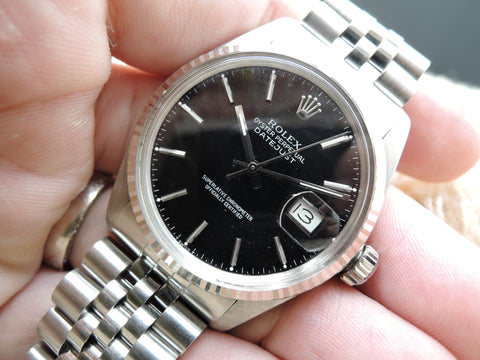 1979 Rolex DATEJUST 16014 Stainless Steel with Glossy Black Dial
