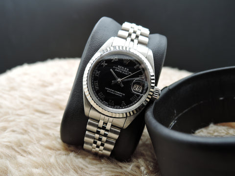 1972 Rolex DATE Ladies 6917 SS Black Roman Dial with Solid Jubilee Band