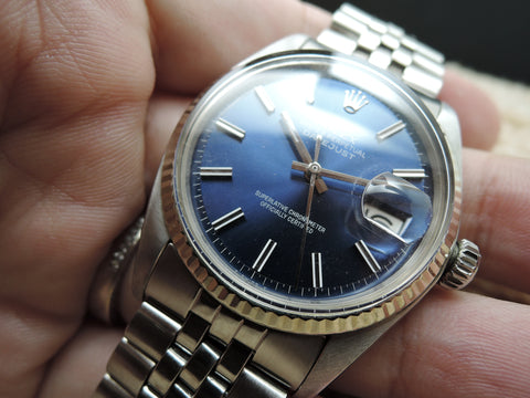 1974 Rolex DATEJUST 1601 Stainless Steel with Glossy Blue Dial