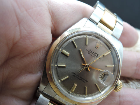 1973 Rolex DATEJUST 1601 2-Tone SS/Gold ORIGINAL Grey Dial with Paper