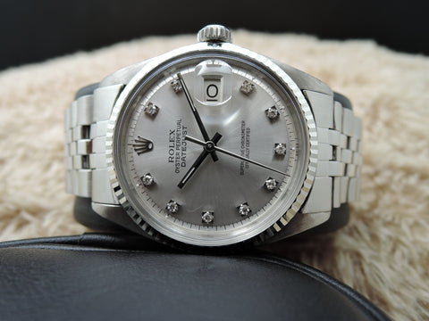 1970 Rolex DATEJUST 1601 SS Silver Diamond Dial with Folded Jubilee