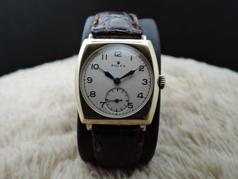 1937 Rolex 9K Yellow Gold Tonneau Case with Original Certificate