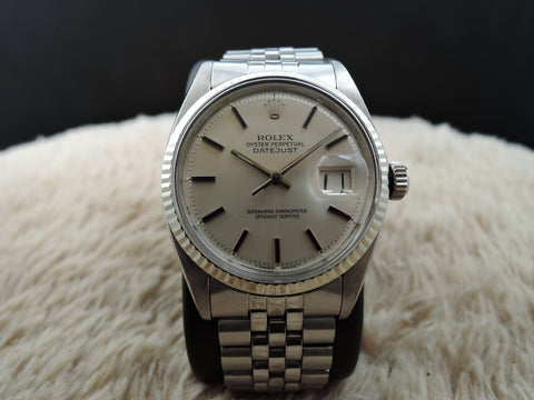 1974 Rolex DATEJUST 1601 Stainleass Steel Original SIlver Dial with Folded Jubilee