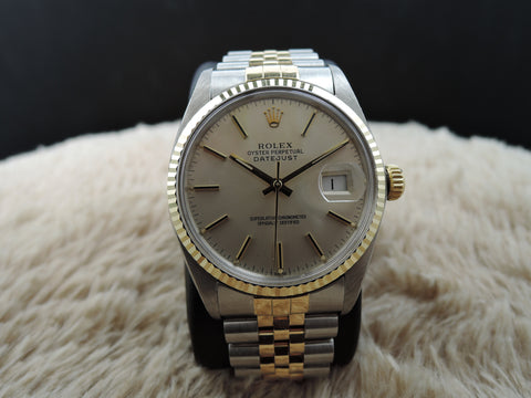 1985 Rolex DATEJUST 16013 2-Tone SS/Gold Silver Dial