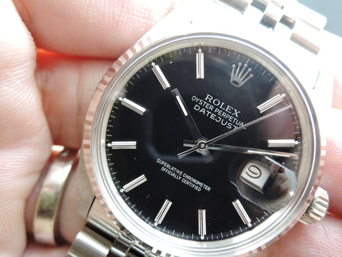 1987 Rolex DATEJUST 16014 Stainless Steel with Glossy Black Dial