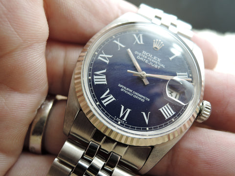 1963 Rolex DATEJUST 1601 SS Blue Roman Dial with Jubilee Band