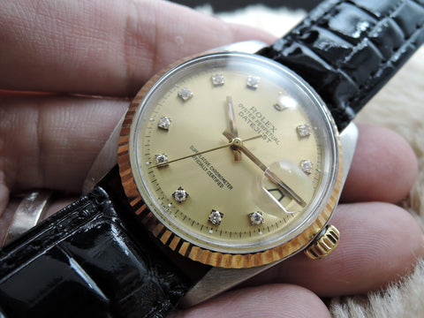 1973 Rolex DATEJUST 1601 2-Tone Gold Diamond Dial