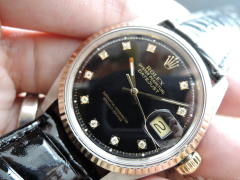 1972 Rolex DATEJUST 1601 2-Tone Black Diamond Dial