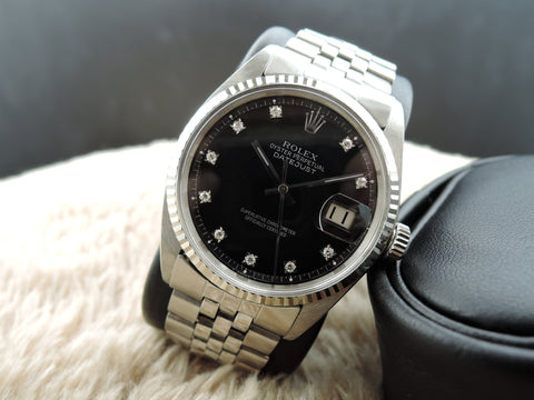 1972 Rolex DATEJUST 1601 SS Black Diamond Dial with Folded Jubilee