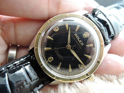 1953 Rolex SEMI-BUBBLEBACK 6103 2-Tone with Explorer Gilt Dial
