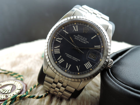 1970 Rolex DATEJUST 1603 SS ORIGINAL Blue Buckley Dial with Paper