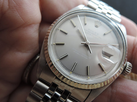 1974 Rolex DATEJUST 1601 SS ORIGINAL Grey Dial with Paper