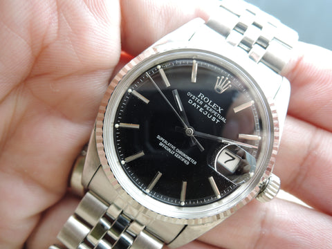 1969 Rolex DATEJUST 1601 Stainless Steel with Glossy Black Dial