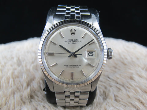 [1969] Rolex DATEJUST 1601 Stainless Steel Original No Lume Silver Dial