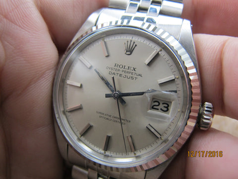 1967 Rolex DATEJUST 1601 SS ORIGINAL Silver Dial with Folded Jubilee