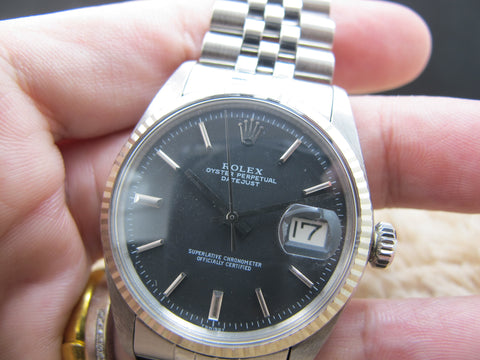 1969 Rolex DATEJUST 1601 SS Matte Black Dial with Solid Jubilee