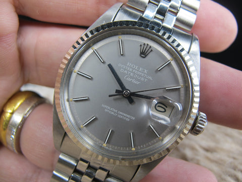 "[1967] Rolex DATEJUST 1601 SS ORIGINAL Ghost Grey Dial Signed with ""Cartier"""