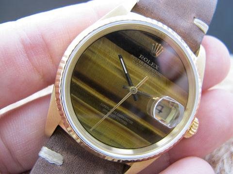 1991 Rolex DATEJUST 16238 18k Yellow Gold ORIGINAL Tiger Eye Dial