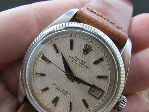 "1954 Rolex DATEJUST 6305 Ovettone Bubbleback with WAFFLE ""RED"" Datejust Dial"