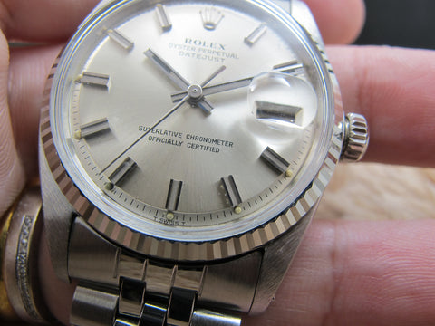 1967 Rolex DATEJUST 1601 SS with Original Wide Boy Patina Dial