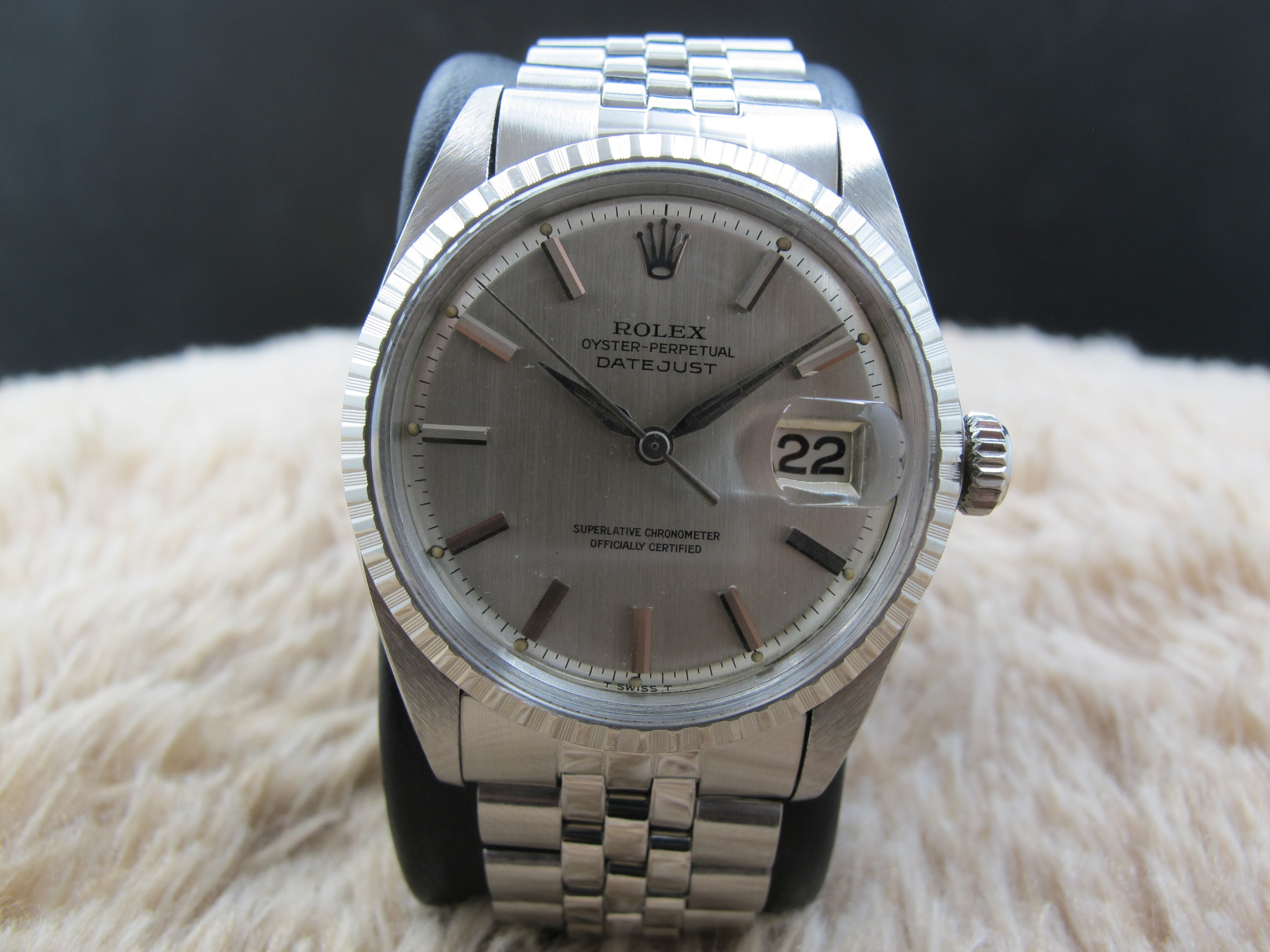 1964 Rolex Datejust 1603 Ss With Original Silver Dial With Leaf
