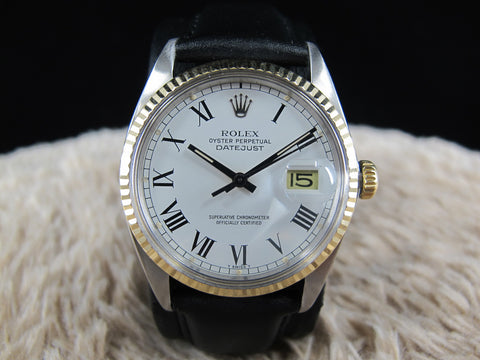 [1985] Rolex DATEJUST 16013 2-Tone SS/18k Original White Buckley Dial