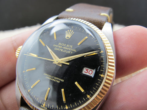 1953 Rolex DATEJUST 6305 LEFT HANDED Ovettone Bubbleback with Gilt Dial