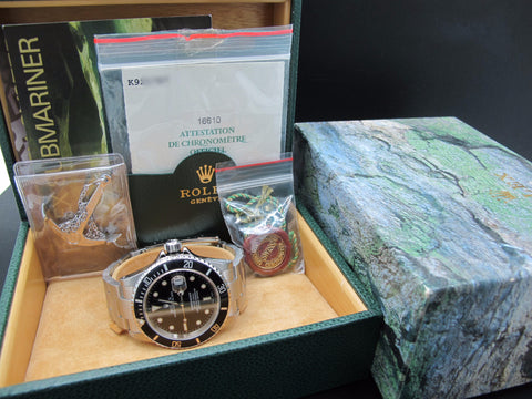 2002 Rolex SUBMARINER 16610 Black Dial Black Bezel Full Set