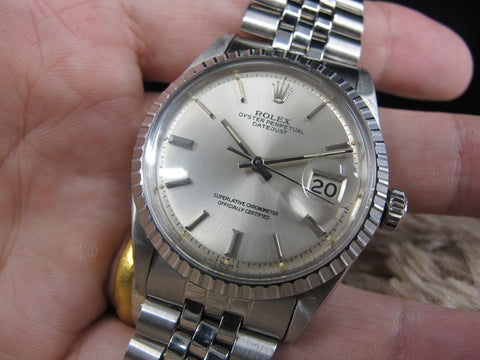 [1969] Rolex DATEJUST 1603 SS with ORIGINAL Silver Dial with Folded Jubilee