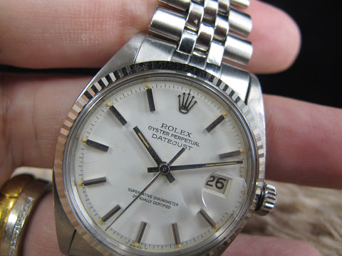 [1972] Rolex DATEJUST 1601 SS Original Matt White Dial with Folded Jubilee