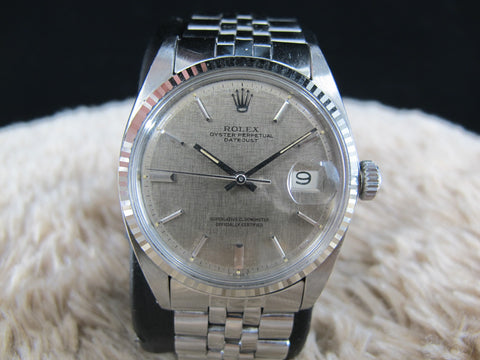 [1964] Rolex DATEJUST 1601 SS ORIGINAL Grey Linen Dial with Folded Jubilee
