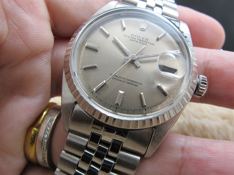 1970 Rolex DATEJUST 1603 SS ORIGINAL Grey (No Lume) Dial with Folded Jubilee