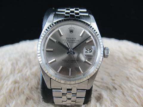 [1969] Rolex DATEJUST 1601 SS ORIGINAL Silver Grey Dial with Folded Jubilee