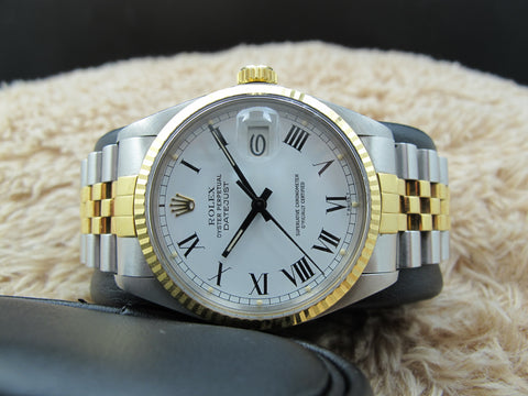 1985 Rolex DATEJUST 16013 2-Tone SS/18k Original White Buckley Dial