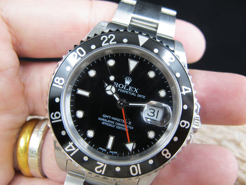 [2004] Rolex GMT MASTER 2 16710 (No Hole Case) Black Bezel Full Set