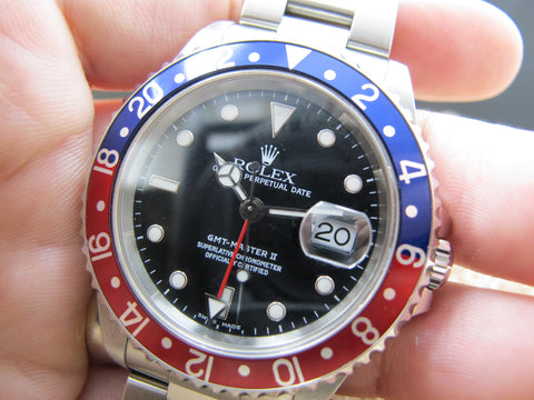 1999 Rolex GMT MASTER 2 16710 Pepsi Red/Blue Bezel with Paper