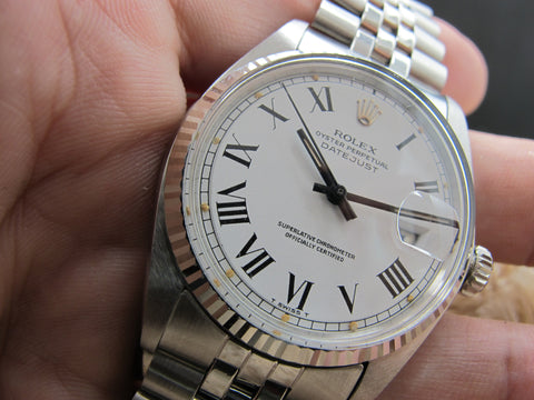 1973 Rolex DATEJUST 1601 SS ORIGINAL White Buckley Dial with Paper