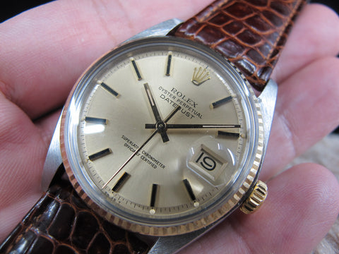 1977 Rolex DATEJUST 1601 2-Tone SS/18k Gold with ORIGINAL Gold Dial