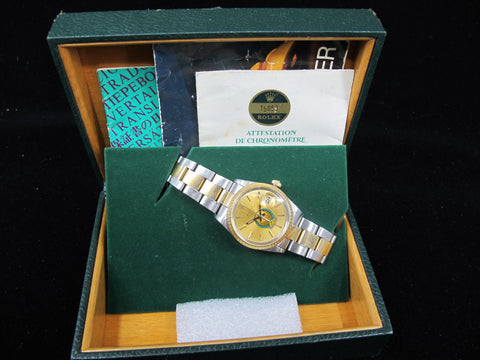 [1987] Rolex DATE 15053 2-Tone with Original Gold UAE Crest Eagle Logo Dial Full Set