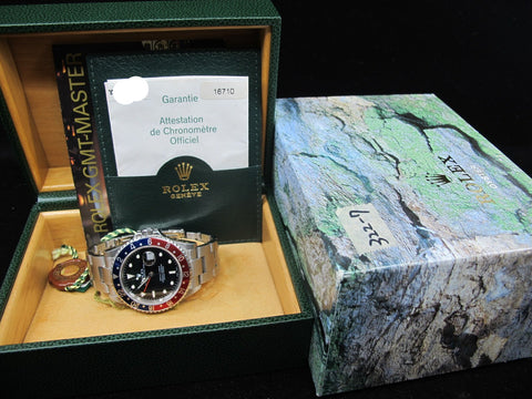 [2004] Rolex GMT MASTER 2 16710 (No Hole Case) Pepsi Bezel Full Set