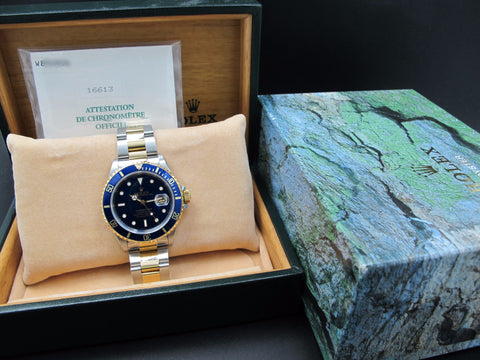 1996 Rolex SUBMARINER 16613 2-Tone Blue Dial with Box and Paper